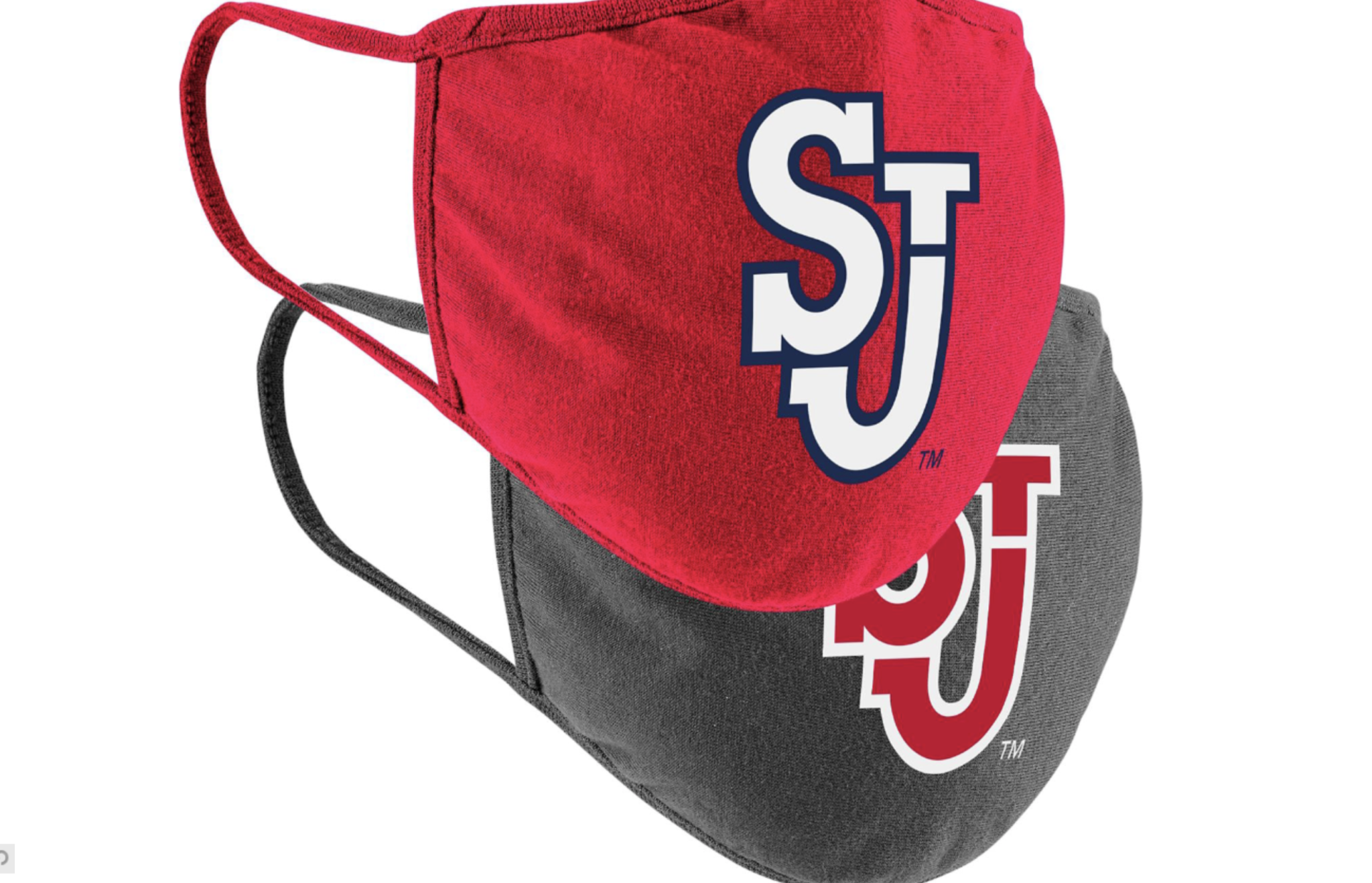 red and gray SJU face masks