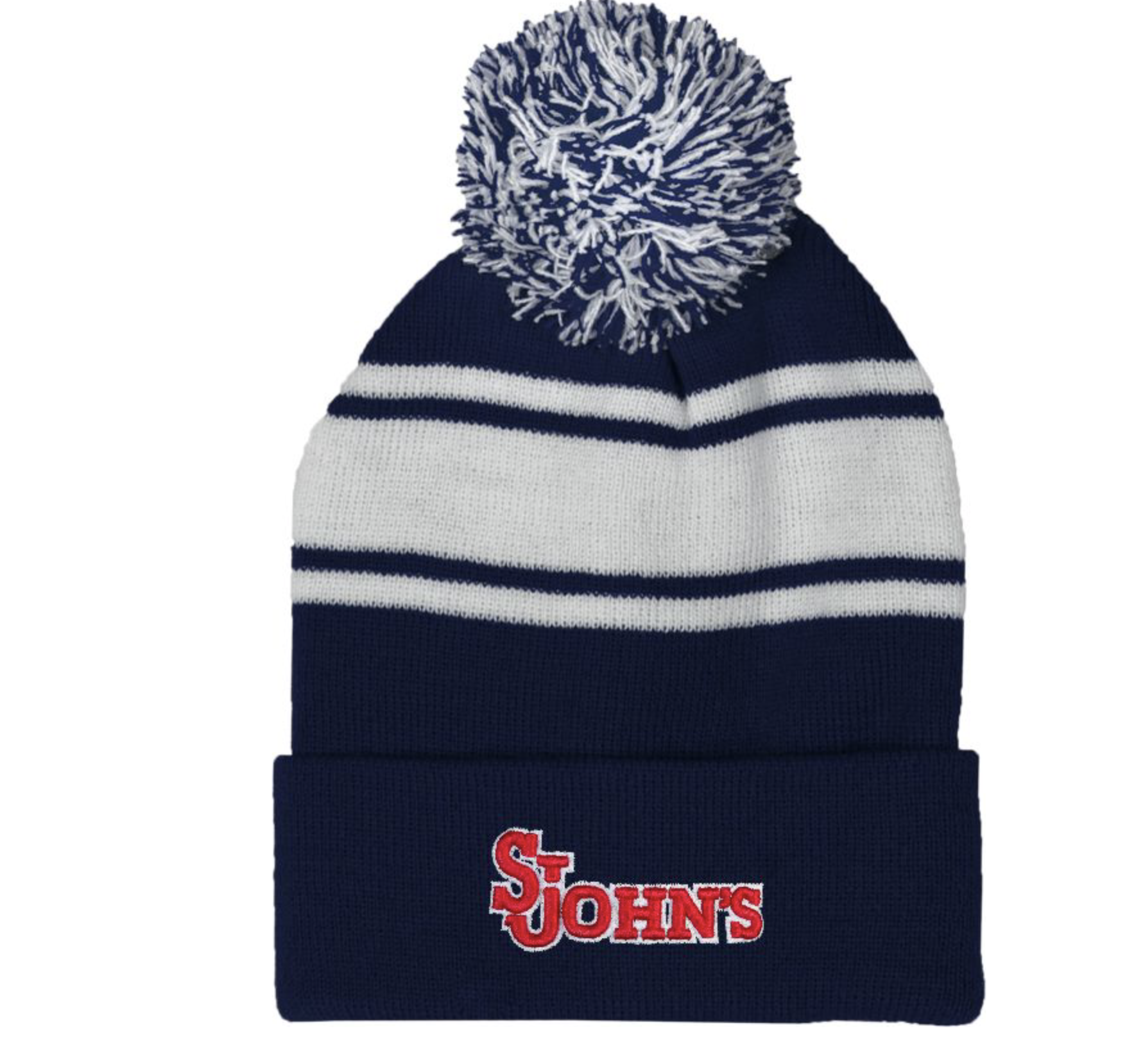 red blue and white winter SJU hat with a pompom