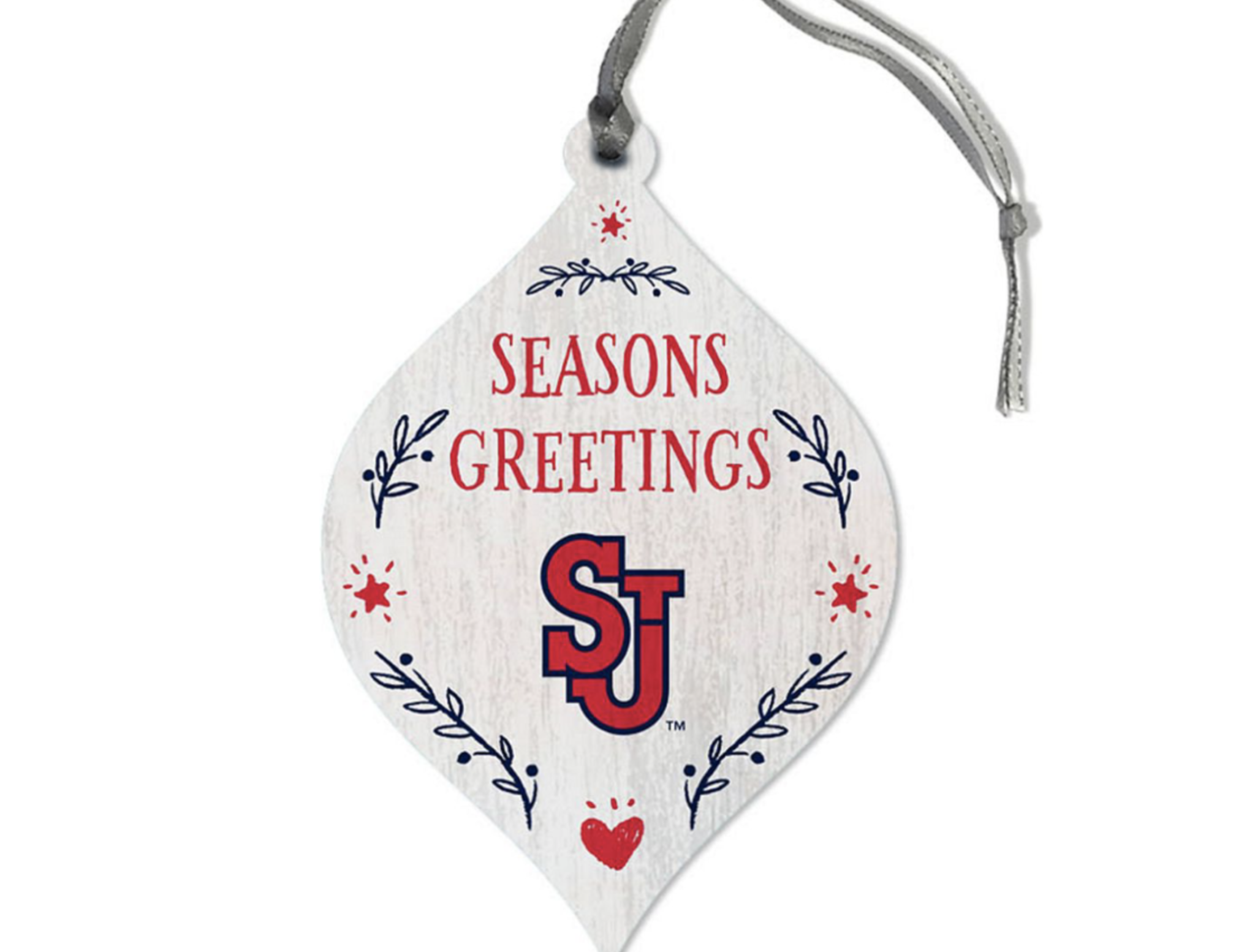 white red and green SJU teardrop ornament