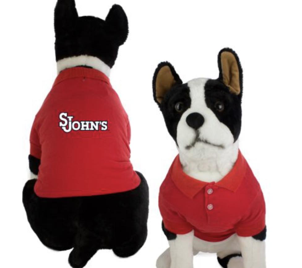 stuffed dog with a sju polo shirt
