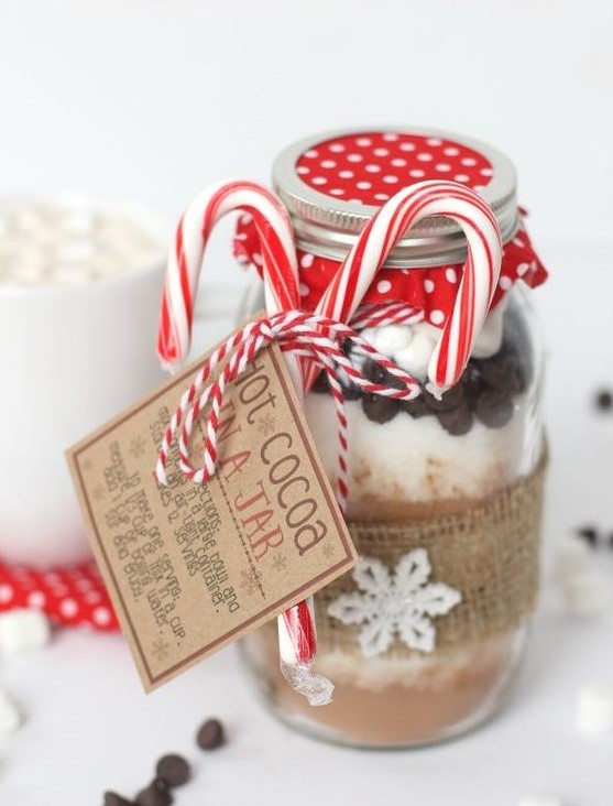 Hot Cocoa Dry Ingredients in a festive jar