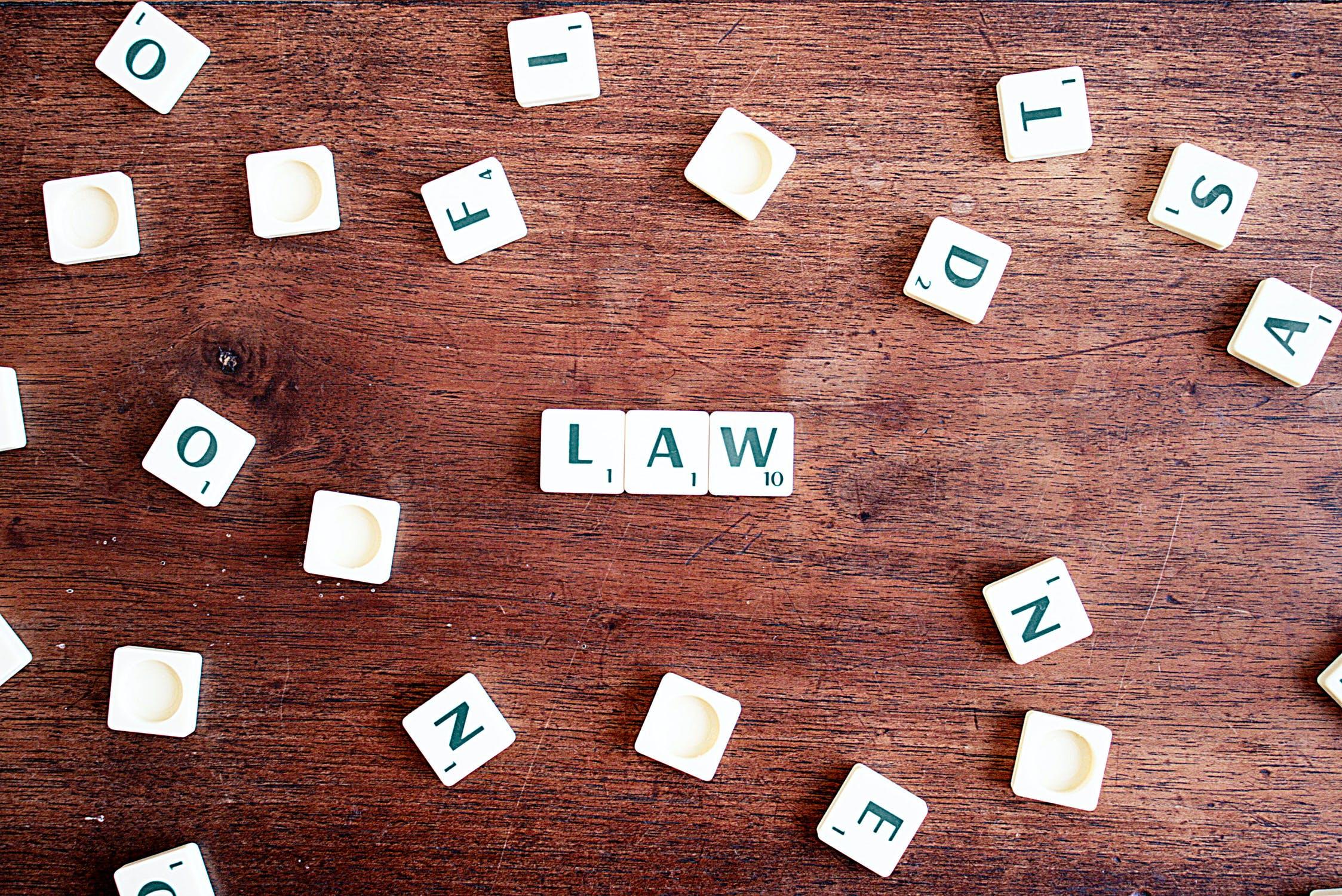 law scrabble tiles