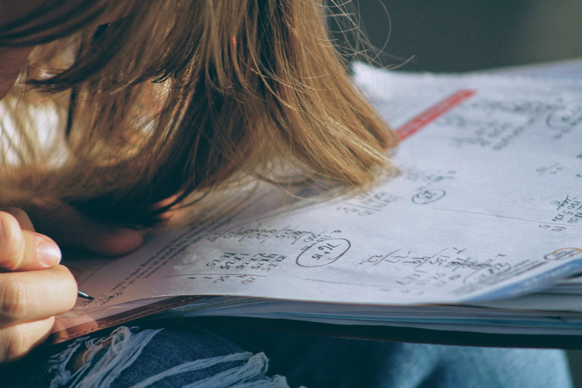 girl doing math