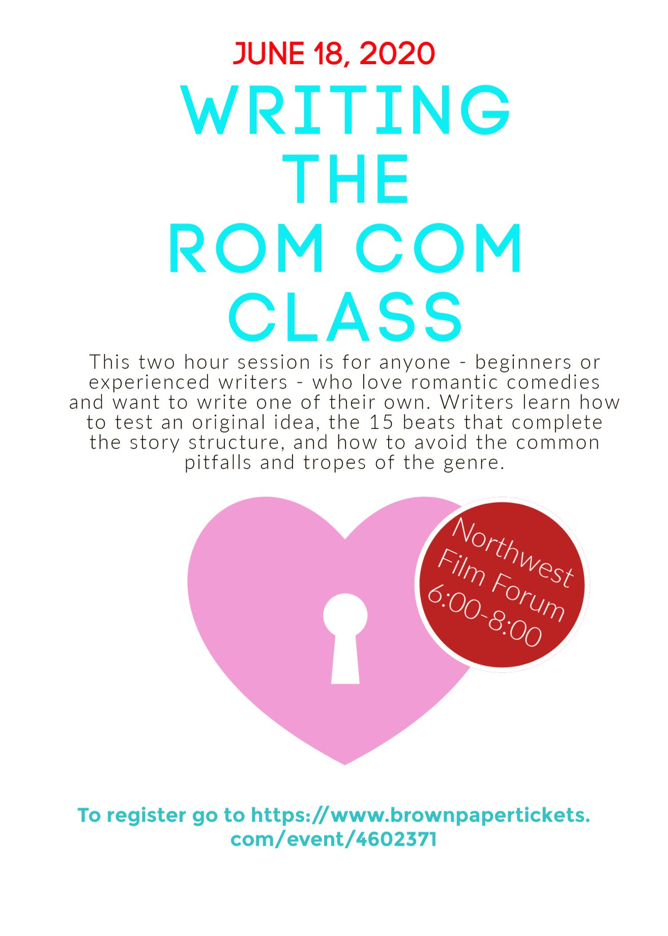 writing the rom com class flyer