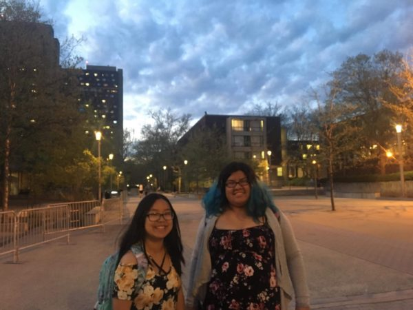 Zhang and friend at UMass Amherst